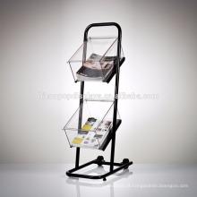 Unidade de exibição comercial de 2 rodas para chão comercial de 3 camadas Caixa de acrílico de metal pequeno prateleira de livros portátil