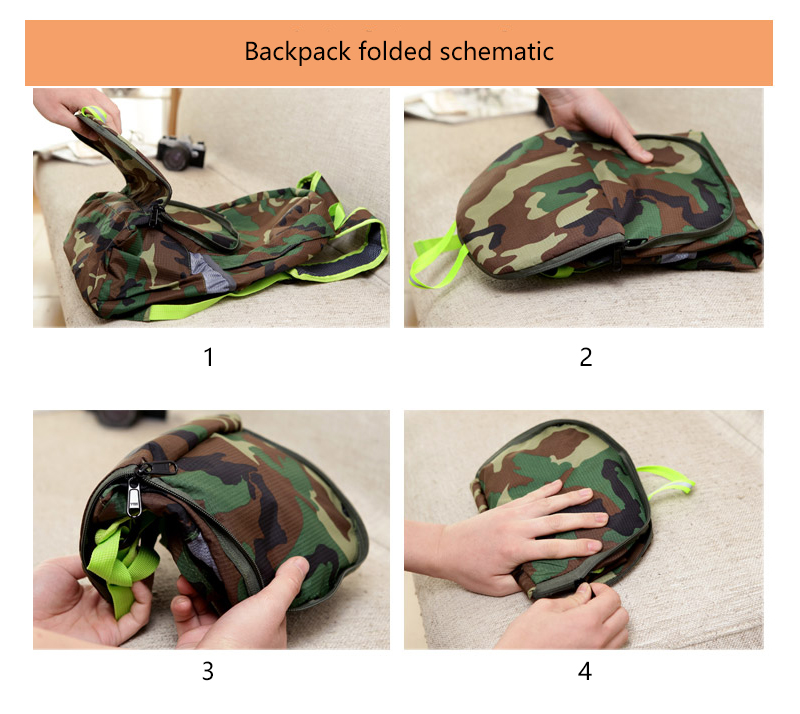 Foldable nylon camouflage travel backpack