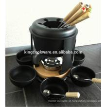Conjunto de fondue de louça de ferro fundido