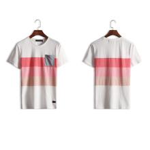 スリーストライプカラーチェストポケットカスタム卸売Tシャツ