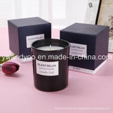 2015 Heißer Verkauf Duftende Sojabohnenöl-schwarze Kerze im Galss-Glas