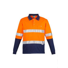 Reflective Two Tone Polo Shirt with Long Sleeve