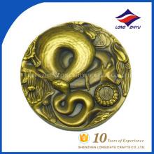 Мода 3D тиснением Снэк пользовательские монета монета