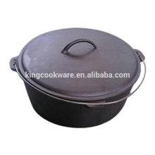 Alta qualidade de revestimento de óleo vegetal de fundo plano forno de ferro fundido holandês / panela de acampamento