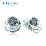 Fashion Simple Design 925 Silver Earring Jewelry With Clear Rhinestone Studded ER1059