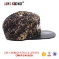 Sombrero negro de la tapa del panel de la tela 5 del borde del cuero negro