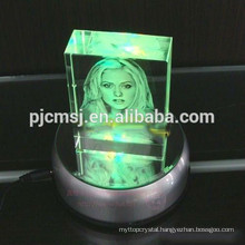 3D Laser Engraved Crystal Cube With LED Light For Souvenirs
