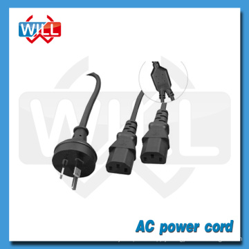 SAA approval Australia Y power cord with dual C13 plug