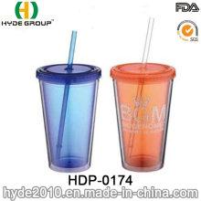 BPA liberan vaso de jugo plástico de doble pared con paja (HDP-0174)