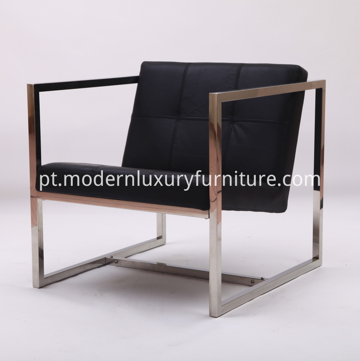 Black Leather Angles Chair