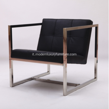 Angles Chaise longue in pelle nera