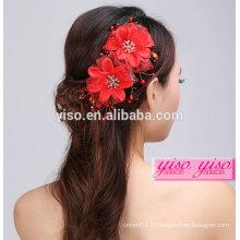 Vente chaude de fleurs à la main mariage rouge accessoires de cheveux vintage