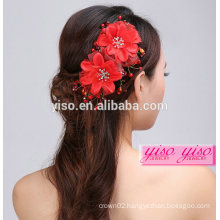 hot sale handmade flower wedding red vintage hair accessories