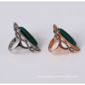 Green Stone Fashion Jewelry Ring in Rhodium Plated
