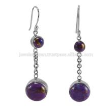Bijoux Boucles d'oreille en argent massif en forme de pierres violet