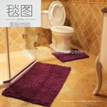 Longue pile de chenille anti-dérapant absorbant l'eau tapis de bain