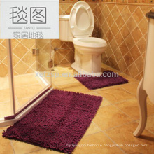 Long pile chenille non-slip water absorb bath mat