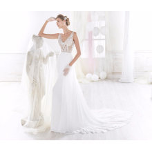V Neck Lace Satin Chiffon Mermaid Bridal Wedding Gown