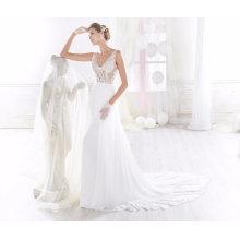 V Neck Lace Satin Chiffon Sereia vestido de noiva nupcial