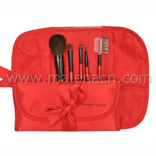 5PCS Cosmetic Makeup Brush with Red Fabric Bag