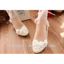 Dentelle d'arc blanc avec robes de demoiselle d'honneur chaussures chaussures de mariage chaussures de fête WS038