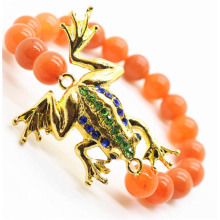Red Aventurine Gemstone Bracelet with Diamante alloy frog Piece