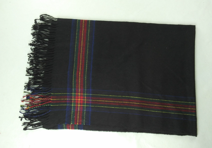 Imitation Cashmere Woven Scarf Black