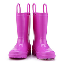 Kids New Fashion Pink Color Waterproof Nature Material Rain Boots Easy-on Handles Shoes