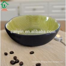 Runder grüner schwarzer Morocan Steingut Suppe Schüssel