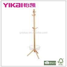 Роскошная вешалка для одежды из массивного дерева с корзиной внизу