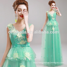 Alibaba China Supplier 2017 Hot Selling Floral Light Green Long Evening Dress Online Shopping Evening Wear