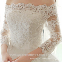 Boat Neck 3/4 Sleeve Custom Made off the shoulder Princess Bridal Gowns Lace Ball Gown Wedding Dresses CWF2328