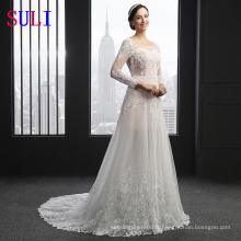SL-3007 brodé applique manches longues robe de mariage nuptiale dentelle 2016