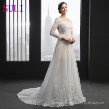 SL-3007 Embroidered Applique Long Sleeves Bridal Wedding Dress Lace 2016