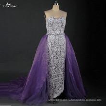 LZ166 дамы в современном платье фиолетовый Лаванда органза свадебные платья