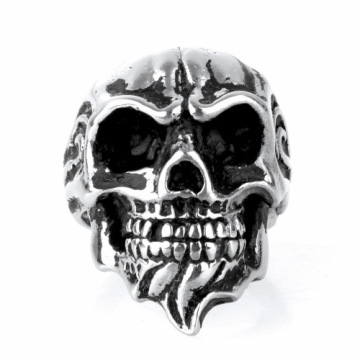 American retro Titanium Steel finger skull ring