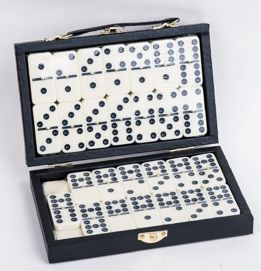 Melamine Double 9 Dominoes In Leather Box