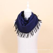 100% lana bufanda de lana de infinito de color sólido