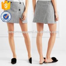 Nova Moda Wool-mistura Tweed Envoltório Mini Saia Diária DEM / DOM Fabricação Atacado Moda Feminina Vestuário (TA5153S)