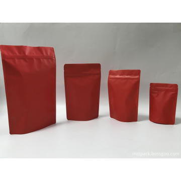 Matte Red Stand Up Ziplock Pouch All Size
