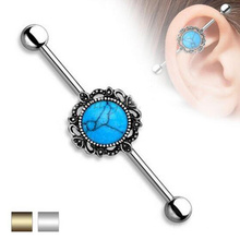 Semi Precious Turquoise Jeweled Surgical Steel Industrial Barbell Earrings