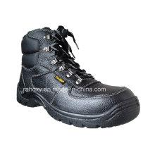 Sapatos de segurança dividir couro gravado com malha forro (HQ05056)
