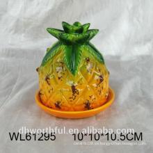 Plato de mantequilla de cerámica pintado a mano en forma de piña para vajilla