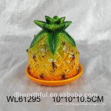 Plat à la vapeur en céramique en forme d'ananas à la mode pour la vaisselle
