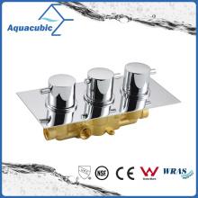 Baño de latón redondo de 3 vías de desvío de cromo termostática ducha mezclador de válvula