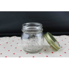 250ml 8oz Clear Empty Embossed Mason Glass Jar
