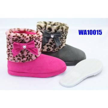 Las mujeres leopardo piel pierna gamuza plataforma Scafo botas