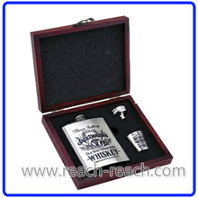 Stainless Steel Hip Flask Sets with Wooden Box Packing (R-HF032)