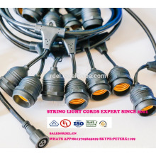 Weatherproof Outdoor String Lights - UL Listed - 15 Hanging Sockets - Perfect Patio Lights - Black - 16 11S14 Incandescent ST