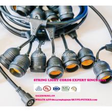 Всепогодный Открытый струнные светильники - Перечисленный UL - 15 висячие гнезда - идеальный Патио огни - черный - 16 11S14 накаливания, ст